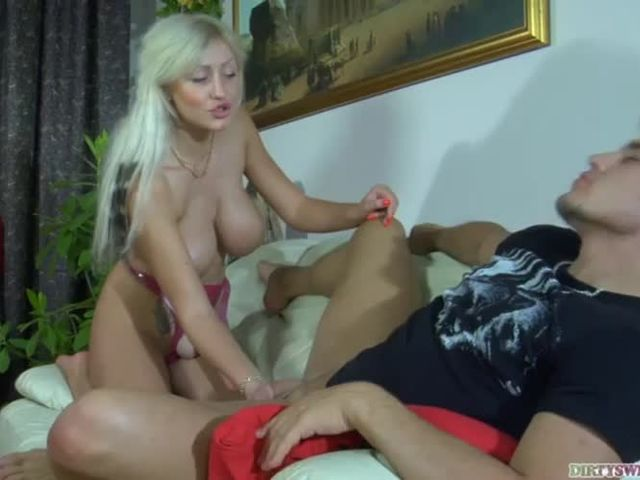 Mona fucks her new boy friend on couch